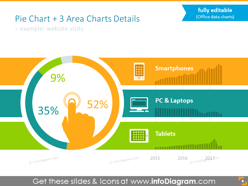 Colorful editable diagram template for statistics presentation