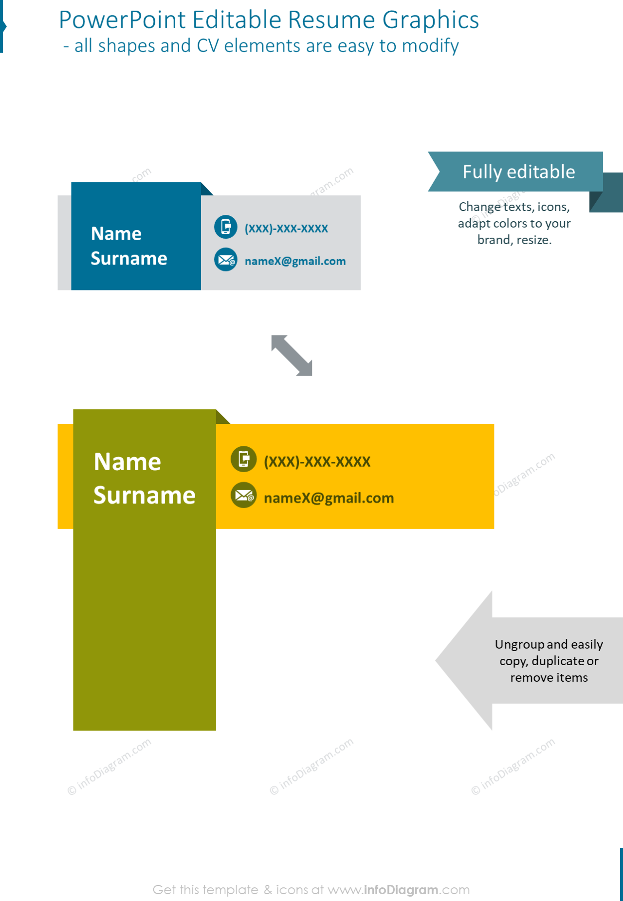 PowerPoint editable resume graphics