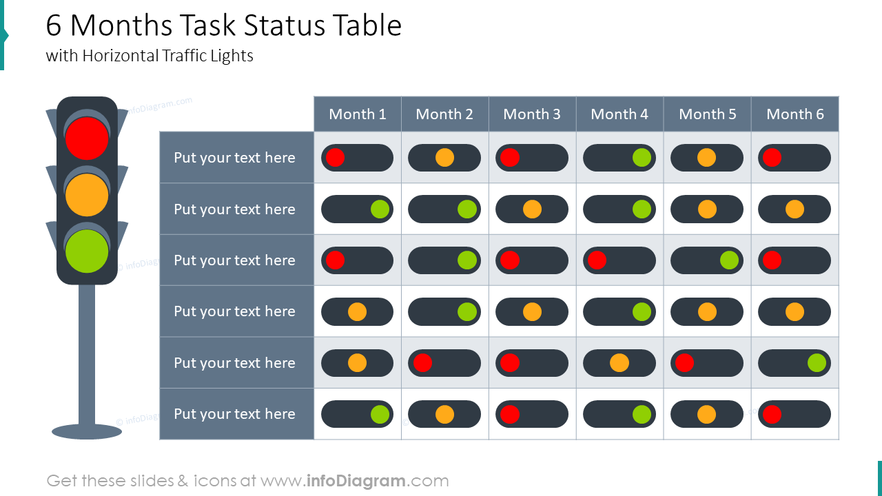 Six months task status table diagram with traffic lights