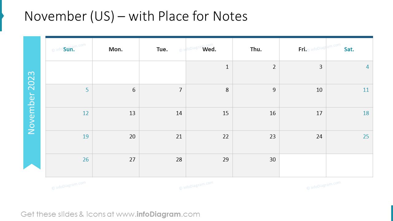 November Calendars 2022 US with notes plan