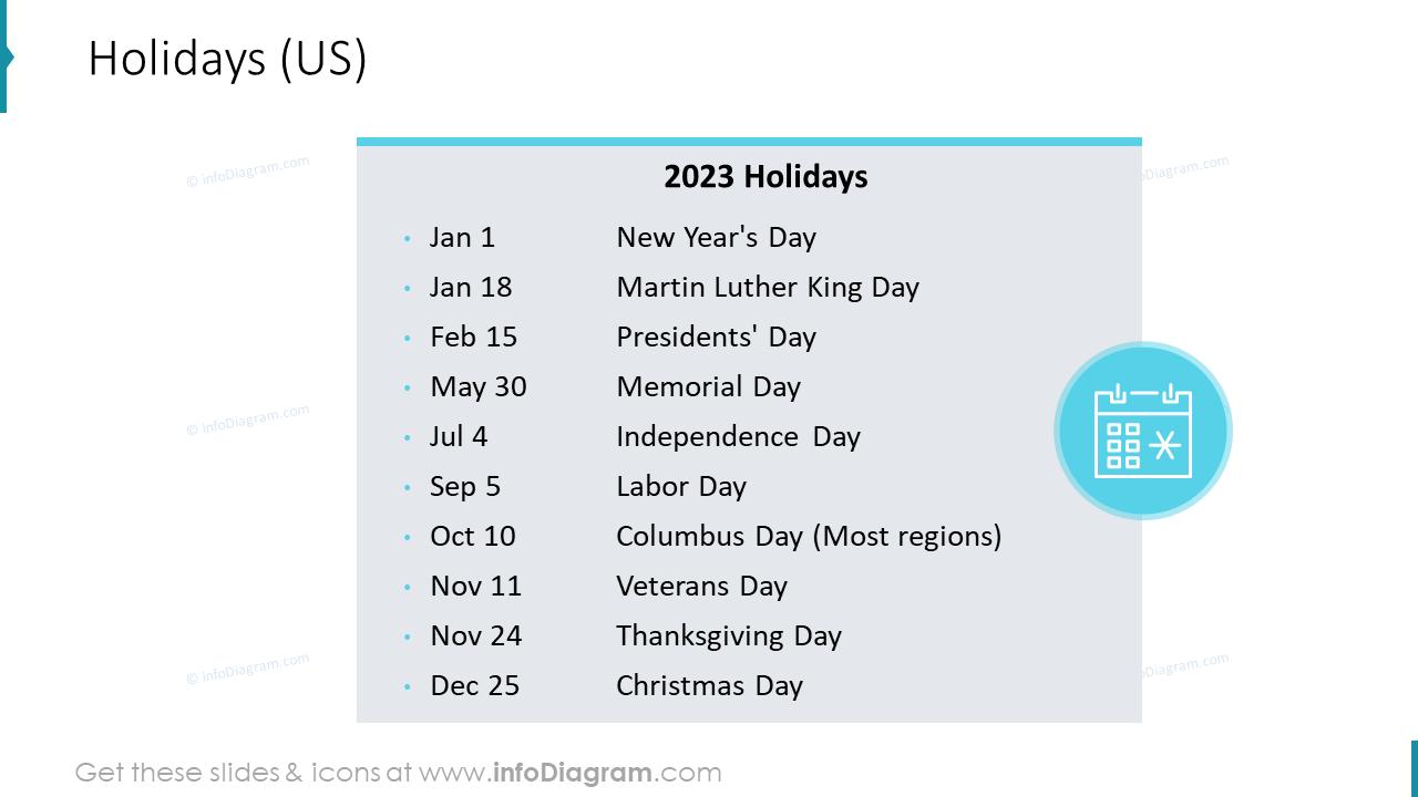 2022 Holidays US Calendars