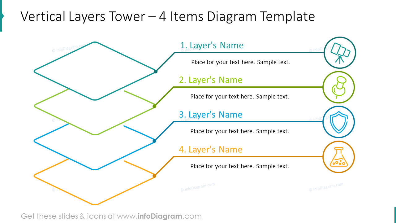 Four items vertical layers tower shown with outline graphics