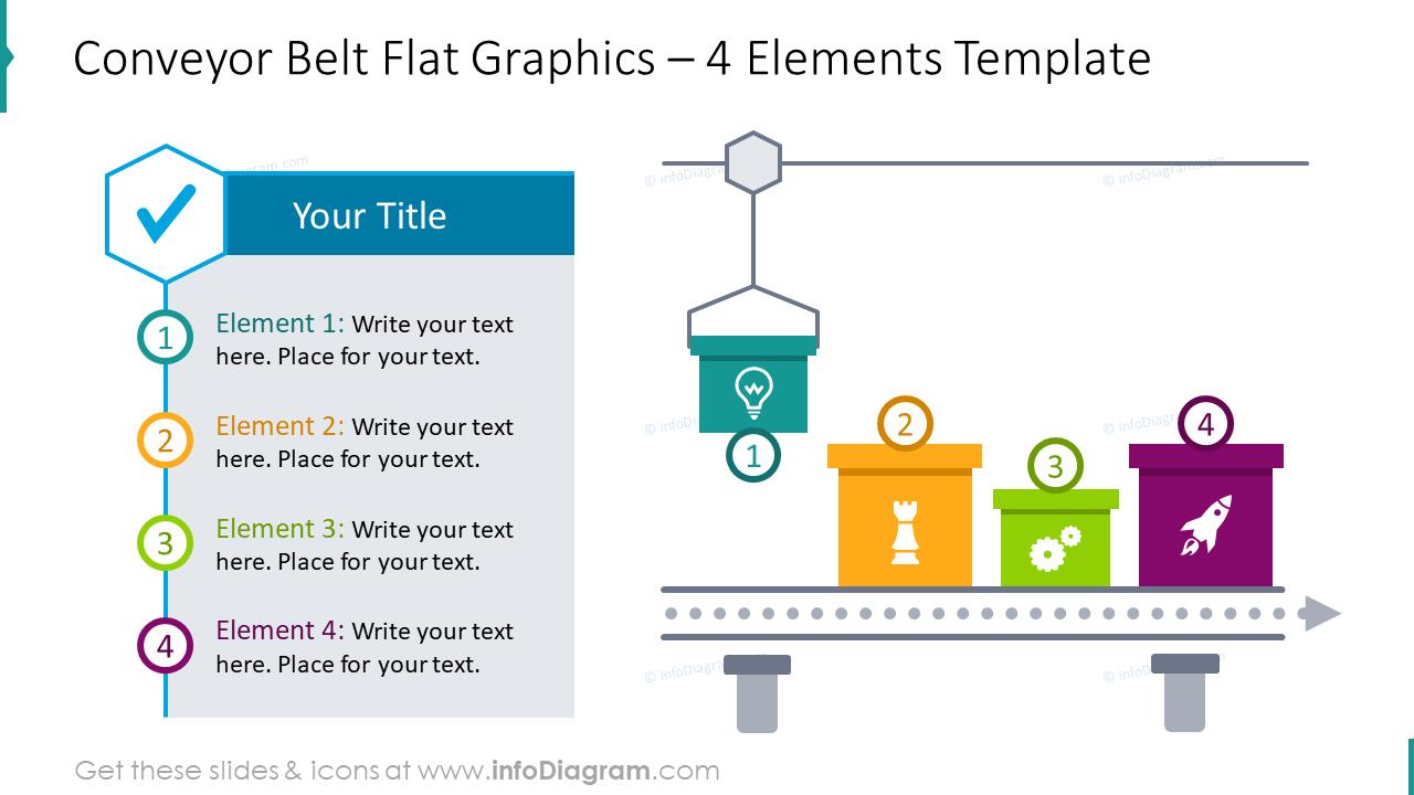 Conveyor belt flat graphics for 4 elements