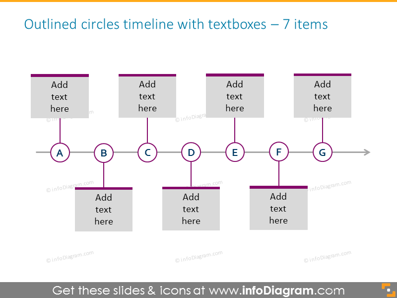 outlined circles template  with rounded callouts for 5 elements