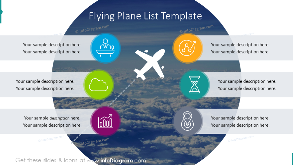 List template on a flying plane background