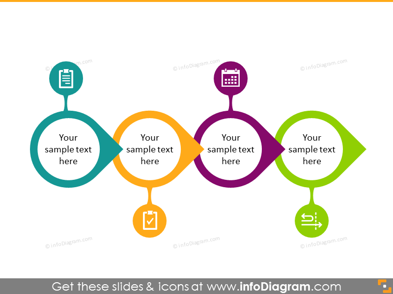 flowchart infographics circle items ppt
