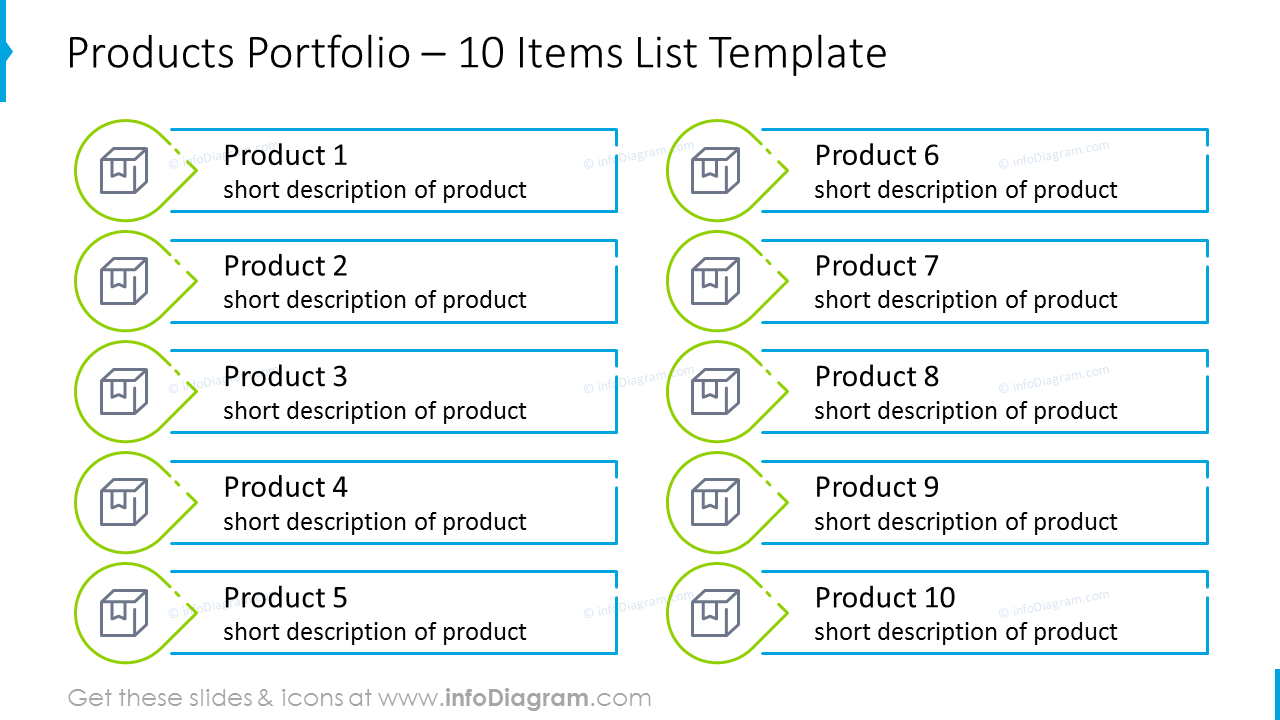 Products portfolio list template with outline icons