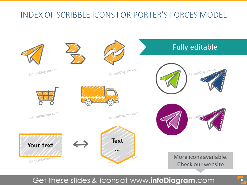 Icons hand drawn Porter Forces Marketing Diagram