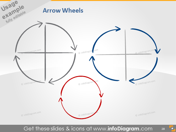 quarter arrow handmade drawing shape circle pptx