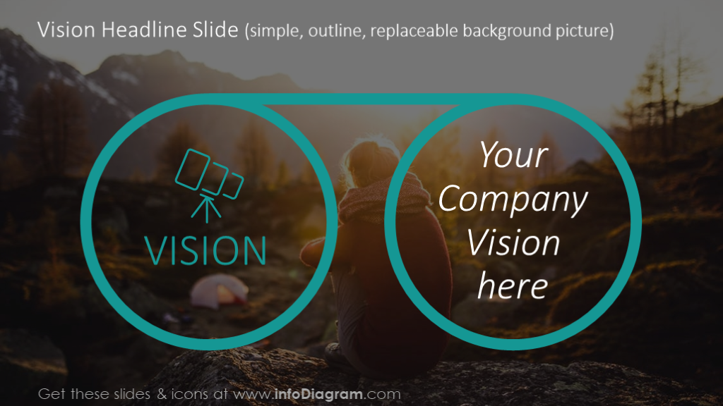 Vision headline slide illustrated with a background picture