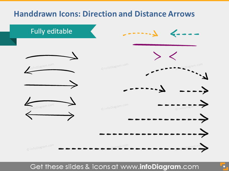 hand drawn arrows direction distance logistics