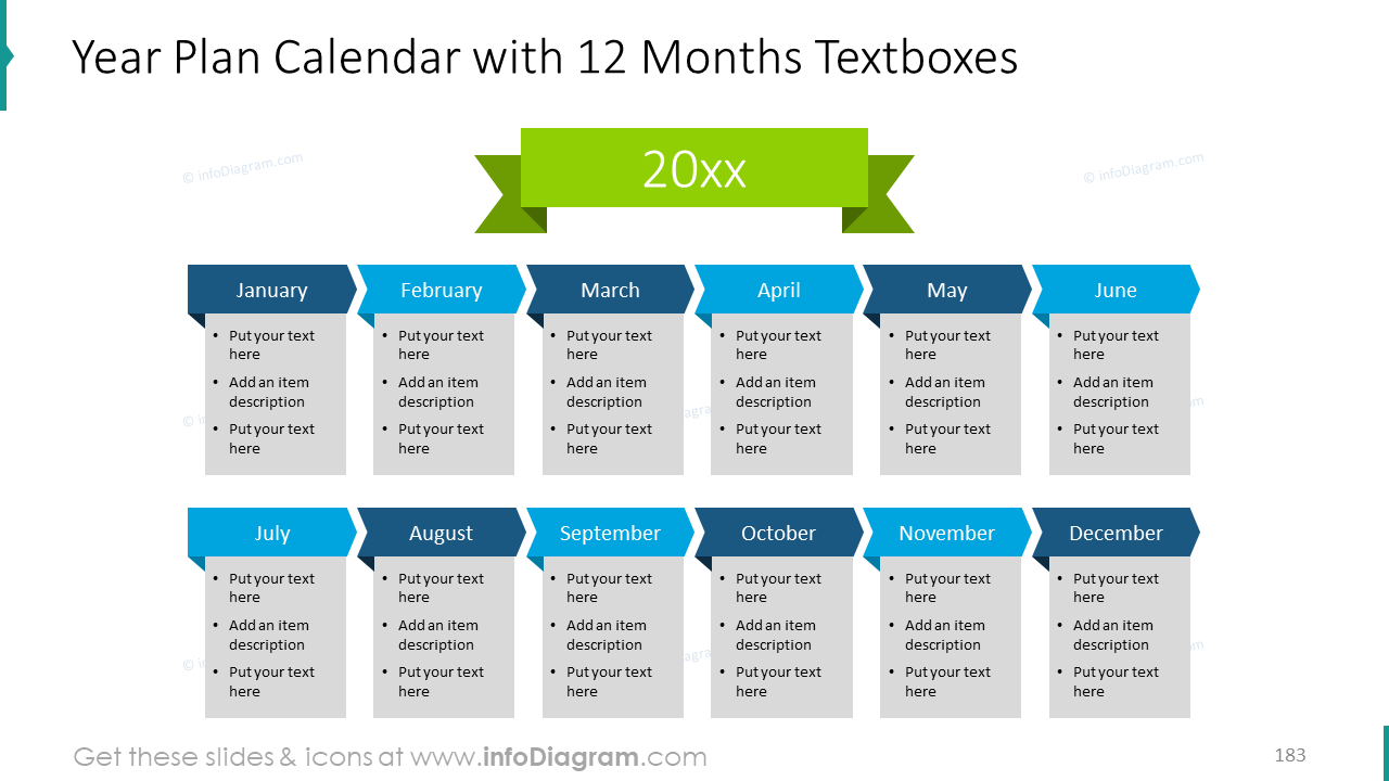 Year plan calendar with 12 months textboxes