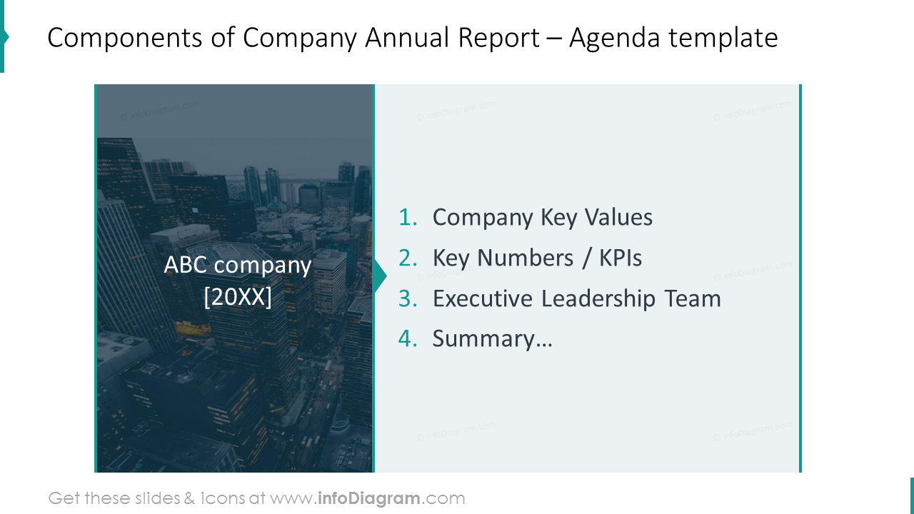 Company report agenda on a dark picture background