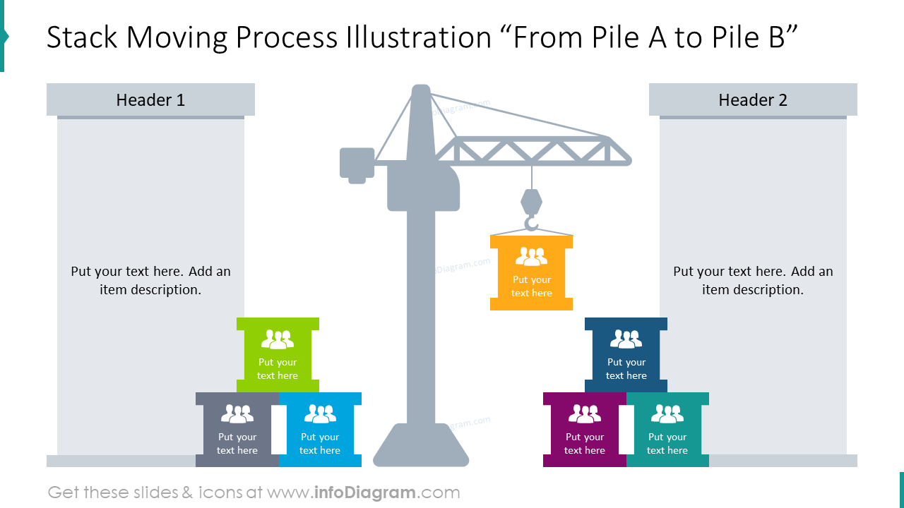 Stack moving process slide with text holders