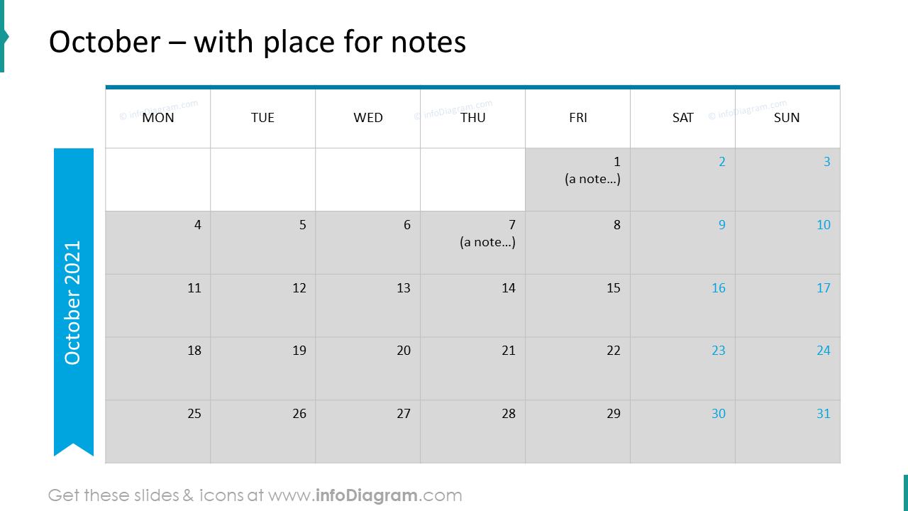 October Calendars 2020 EU with notes plan