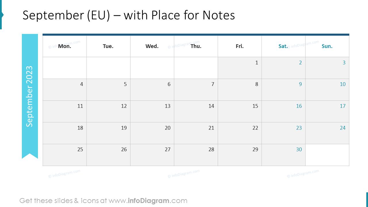 October Calendars 2022 EU with notes plan