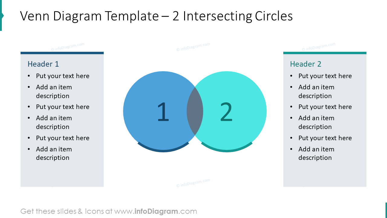 Venn diagram template with 2 intersecting circles