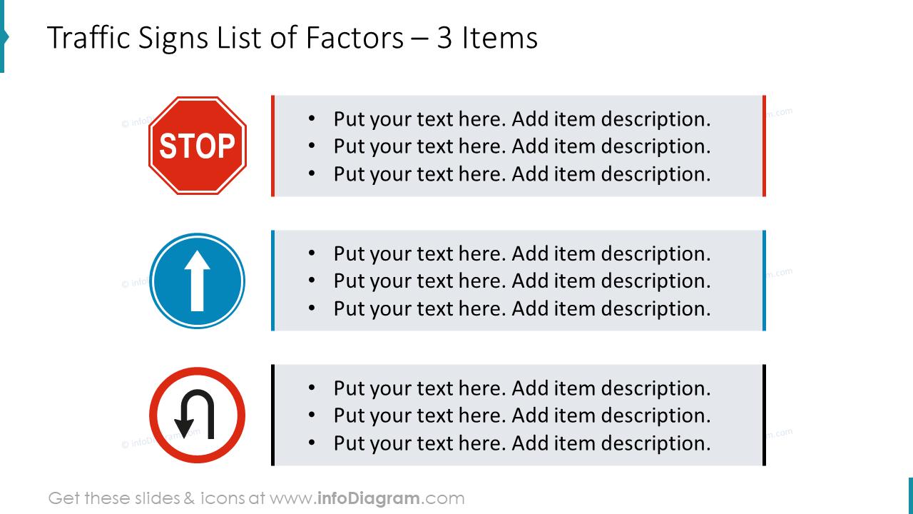 Traffic signs list of factors diagram