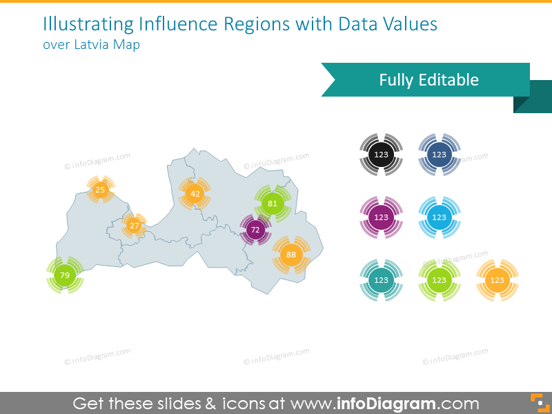 Latvia regions map illustrated with data values