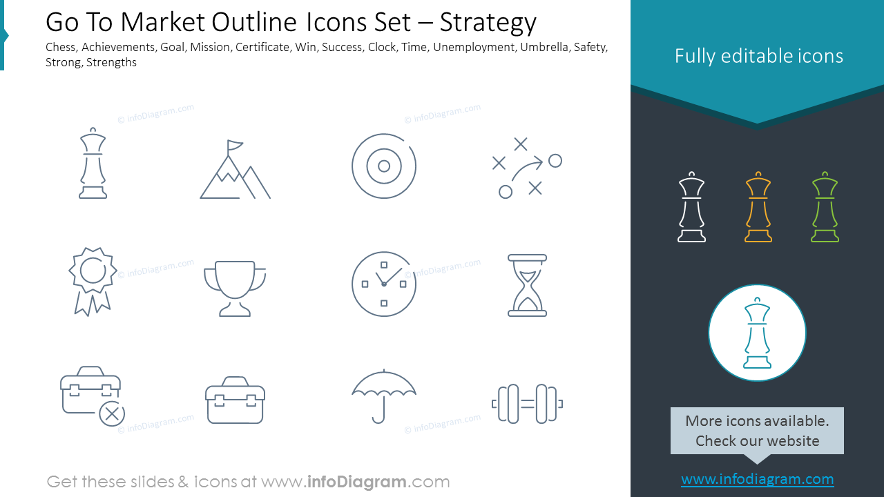 Go To Market Outline Icons Set – Strategy