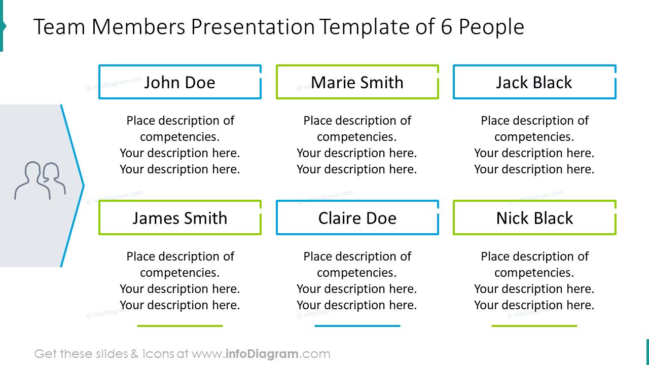 Team members presentation example of six people