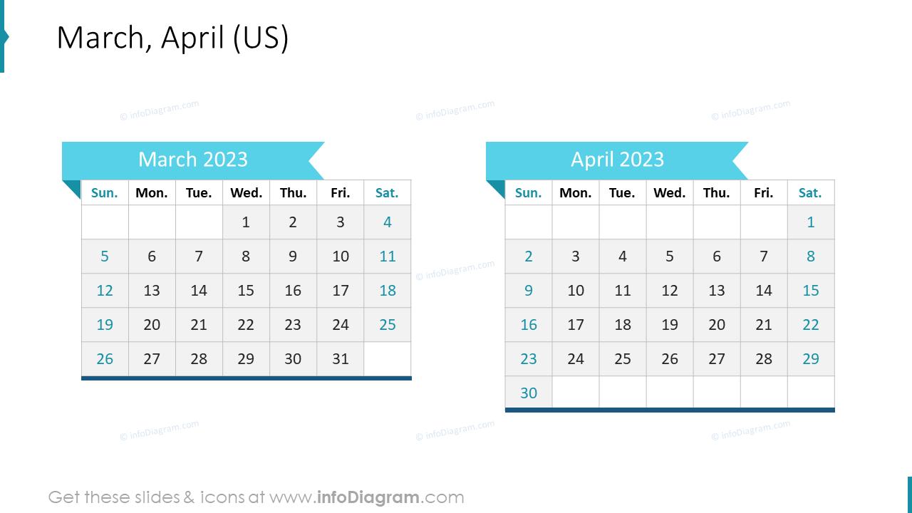 March April 2020 US Calendar