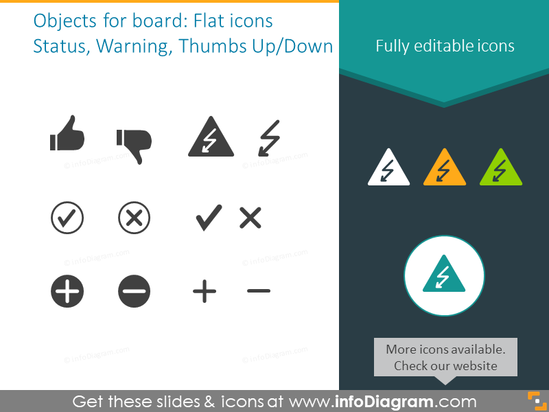 Objects for a Kanban board: status, warning, thumbs up and down