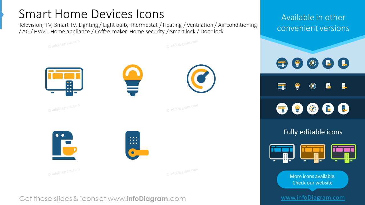 Smart home devices icons: television, TV, smart TV, lighting