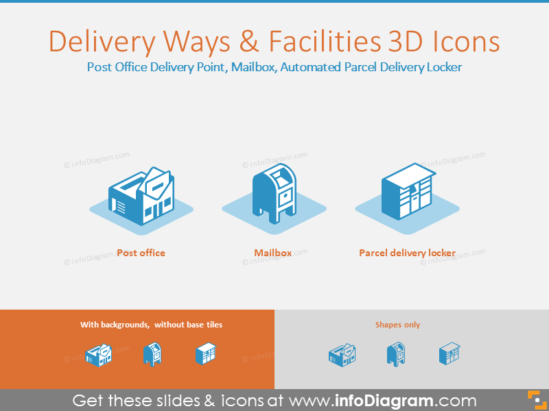 Delivery Ways and Facilities 3D Icons: Delivery, Mailbox, Delivery Locker