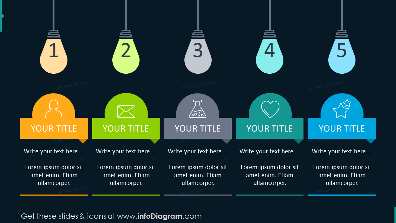 Solution timeline with light bulbs for 5 elements on the dark background