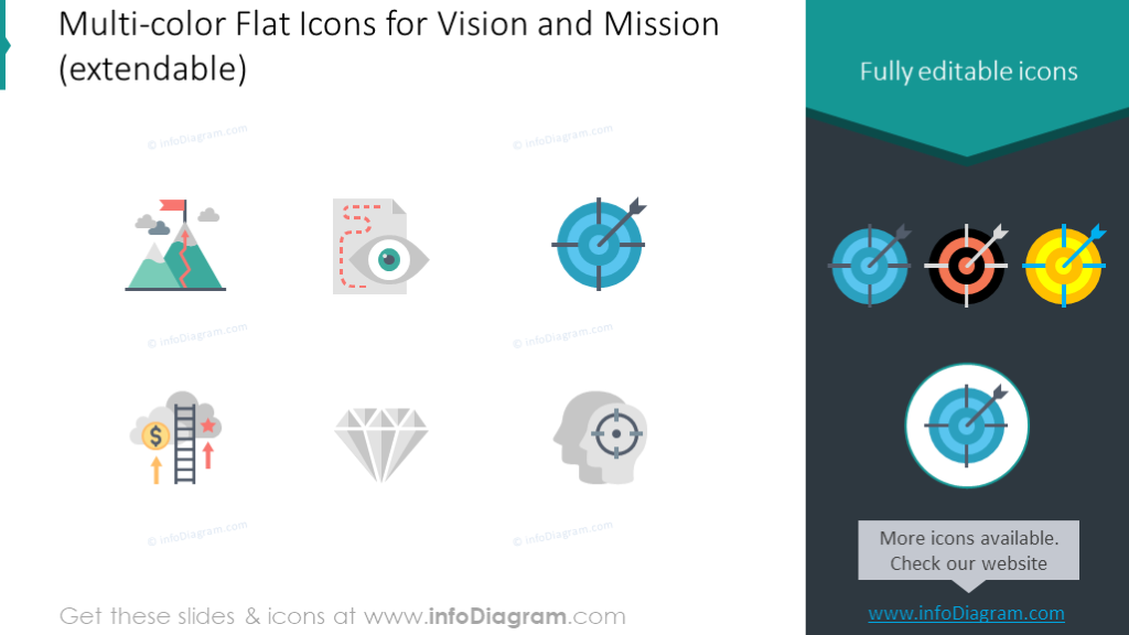 Multicolor flat vision and mission icons set