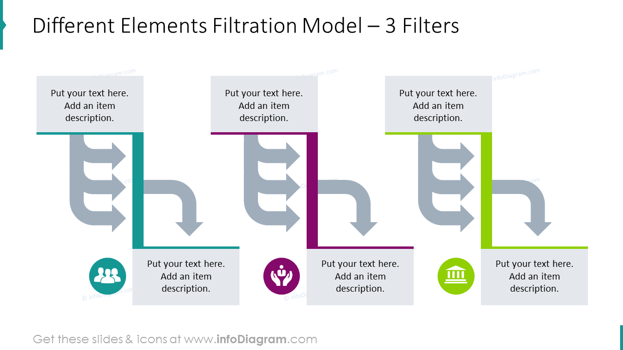 Different elements filtration model with flat icons for 3 filters