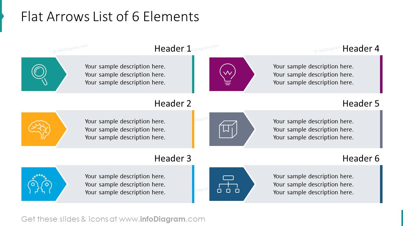 Flat arrows list of 6 elements