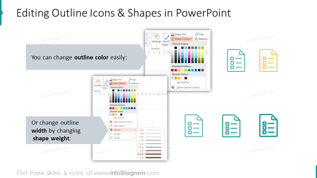 Editing outline icons and shapes
