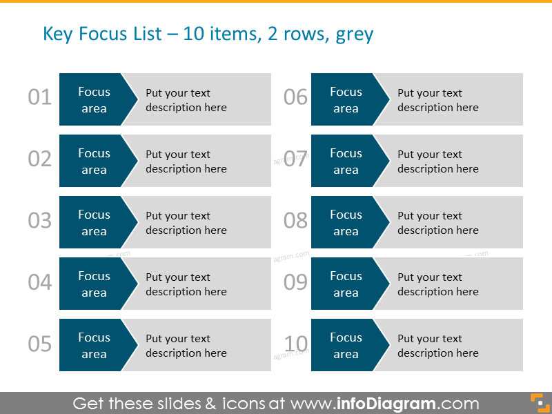 Arrows Diagram Template for 10 items in 2 columns in grey color with num...