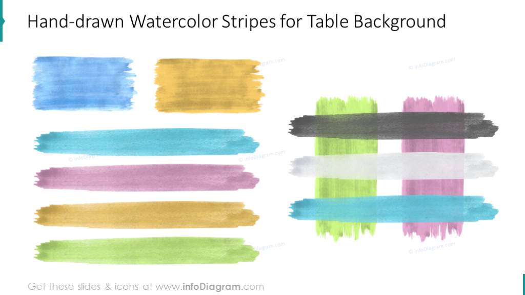 Watercolor stripes for a table background