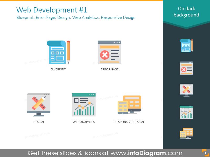 Blueprint, error page, design, web analytics, responsive design icons