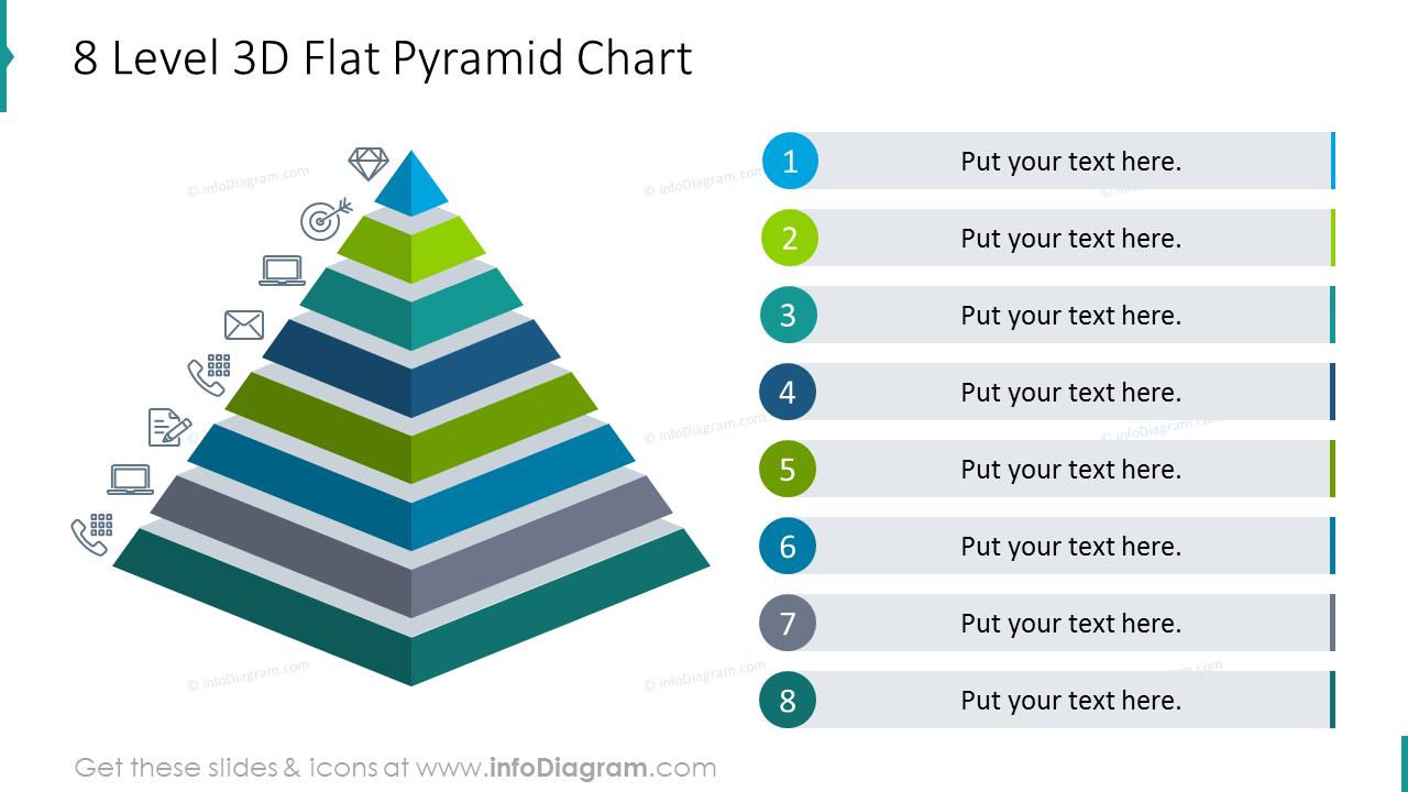 Eight level 3D flat pyramid chart