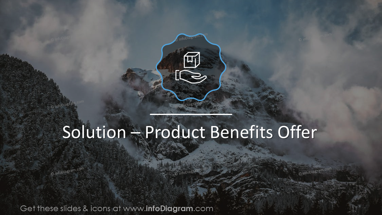 Solution - Product benefits' title slide on a mountain picture background