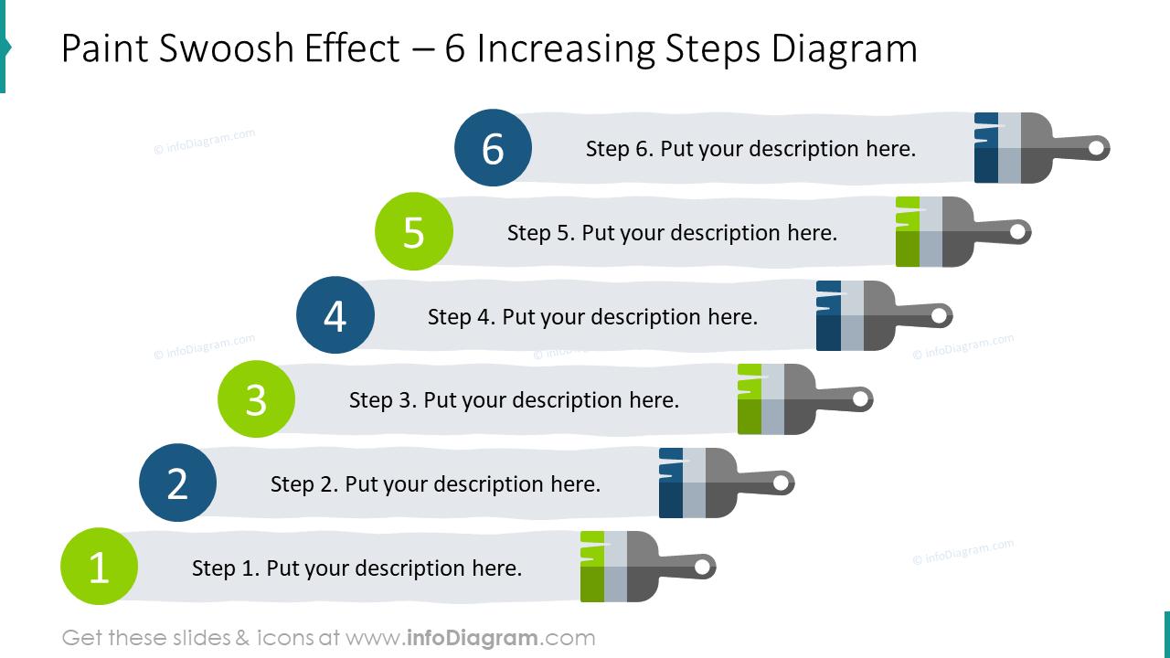Paint swoosh effect for six increasing steps diagram