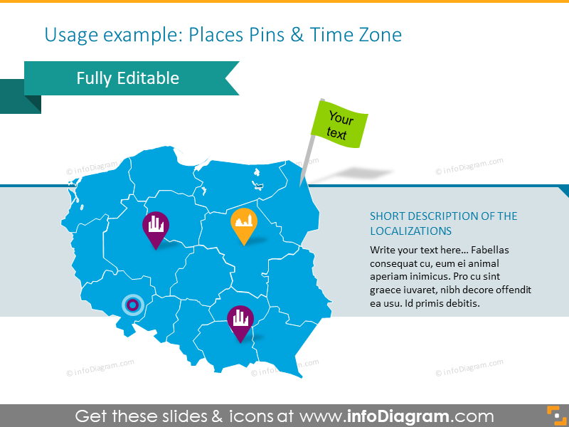 Poland map illustrated with places pins and time zone
