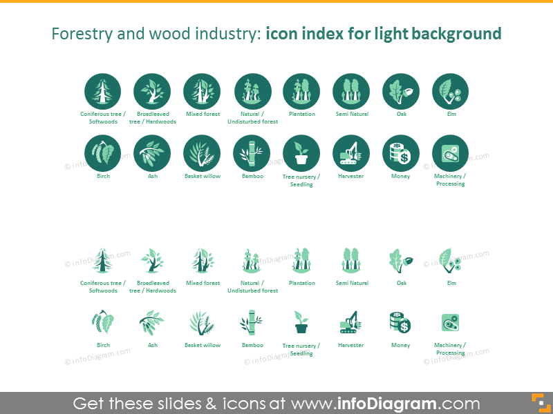 Forestry and wood industry icon index: light background