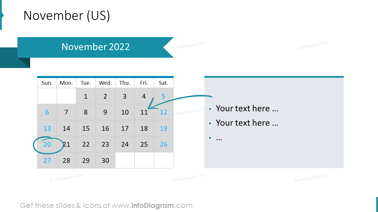 November 2022 US Calendars
