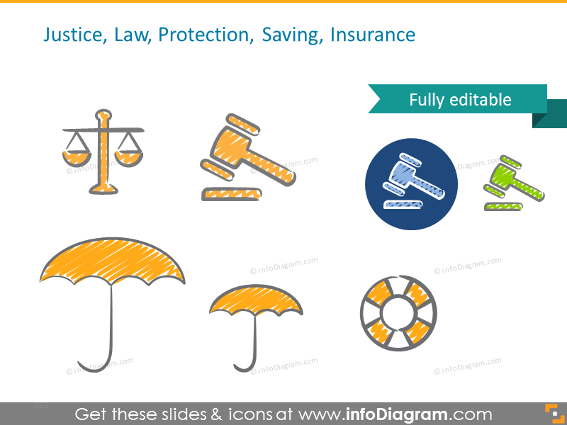 Example of Justice, Law, Protection, Saving, Insurance icons