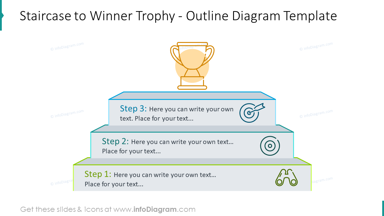 Staircase to winner trophy outline infographics