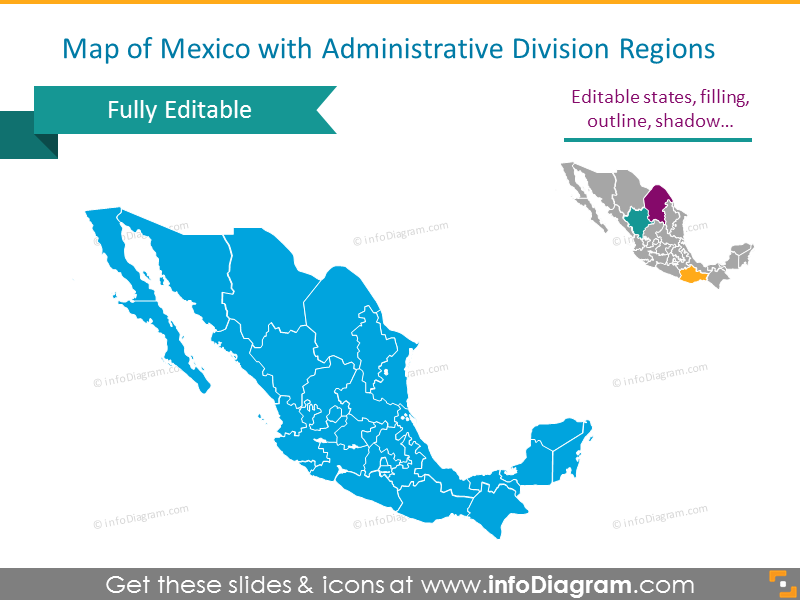 Detailed Map of Mexico with Administrative Regions