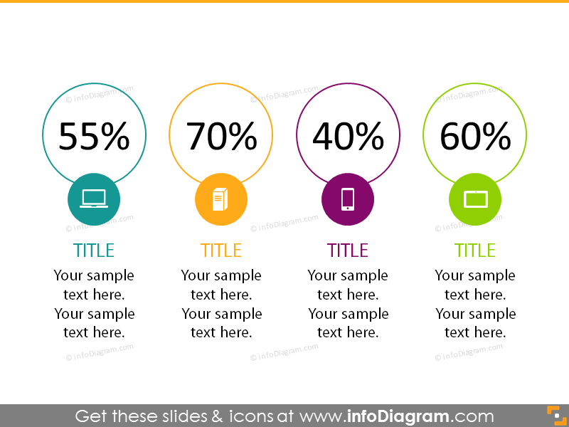 double circle chart infographics template flat