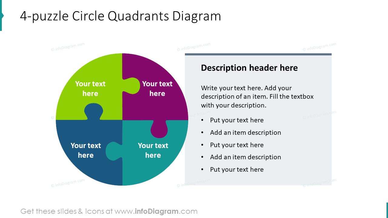 4-puzzle circle quadrants diagram