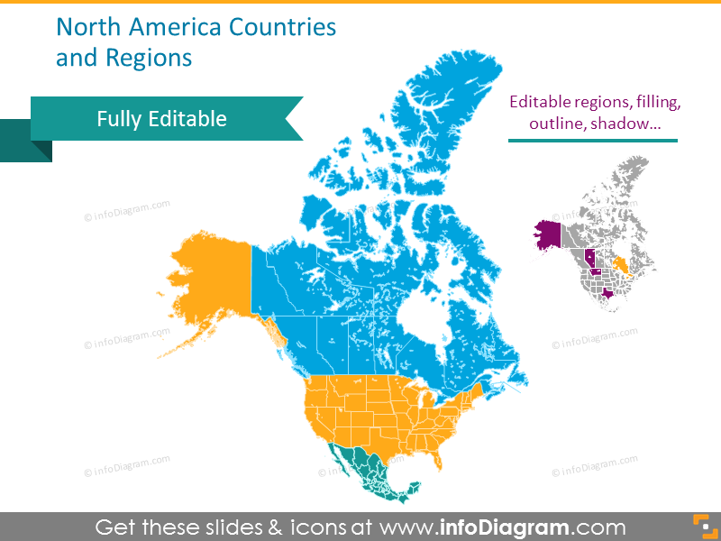 Editable Maps Icons Usa Canada Mexico North America
