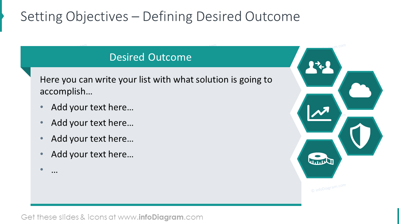 Setting objectives template with flat icons